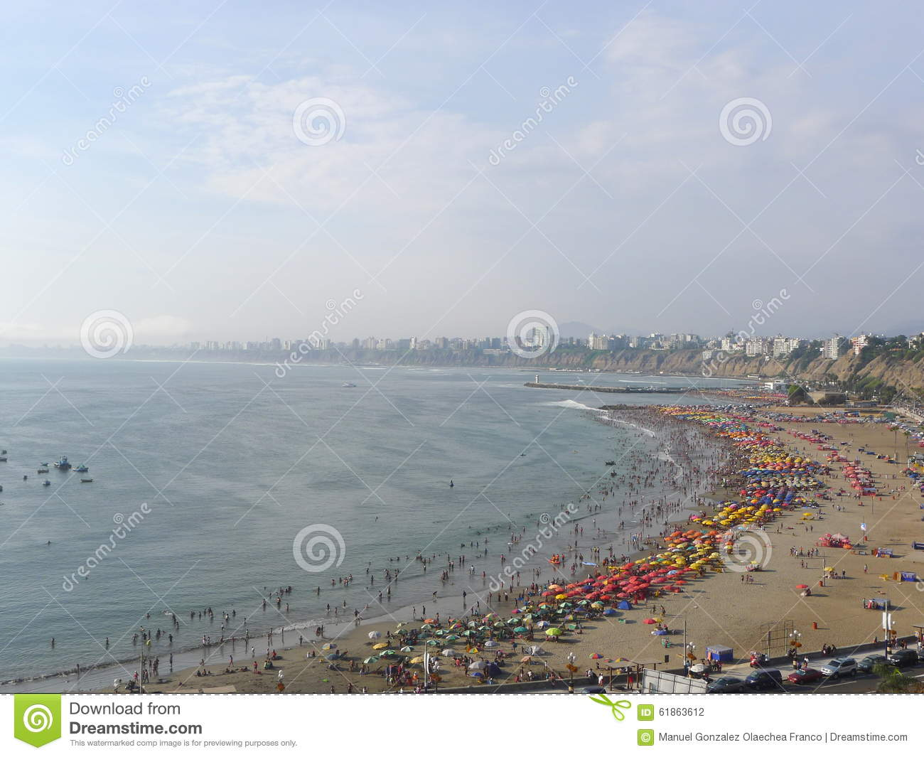 Panoramic View Of A Beach In Chorrillos, Lima Stock Photo.