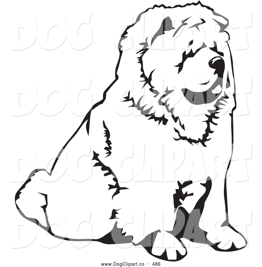 Vector Clip Art of a Cute Chow Chow Dog Sitting and Facing to the.