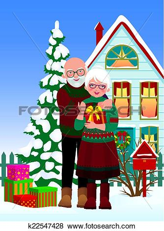 Clip Art of Elderly couple getting gifts at Chr k22547428.