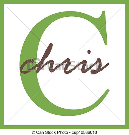 Clipart of Chris Name Monogram.