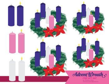 Advent Wreath Clip Art Set.