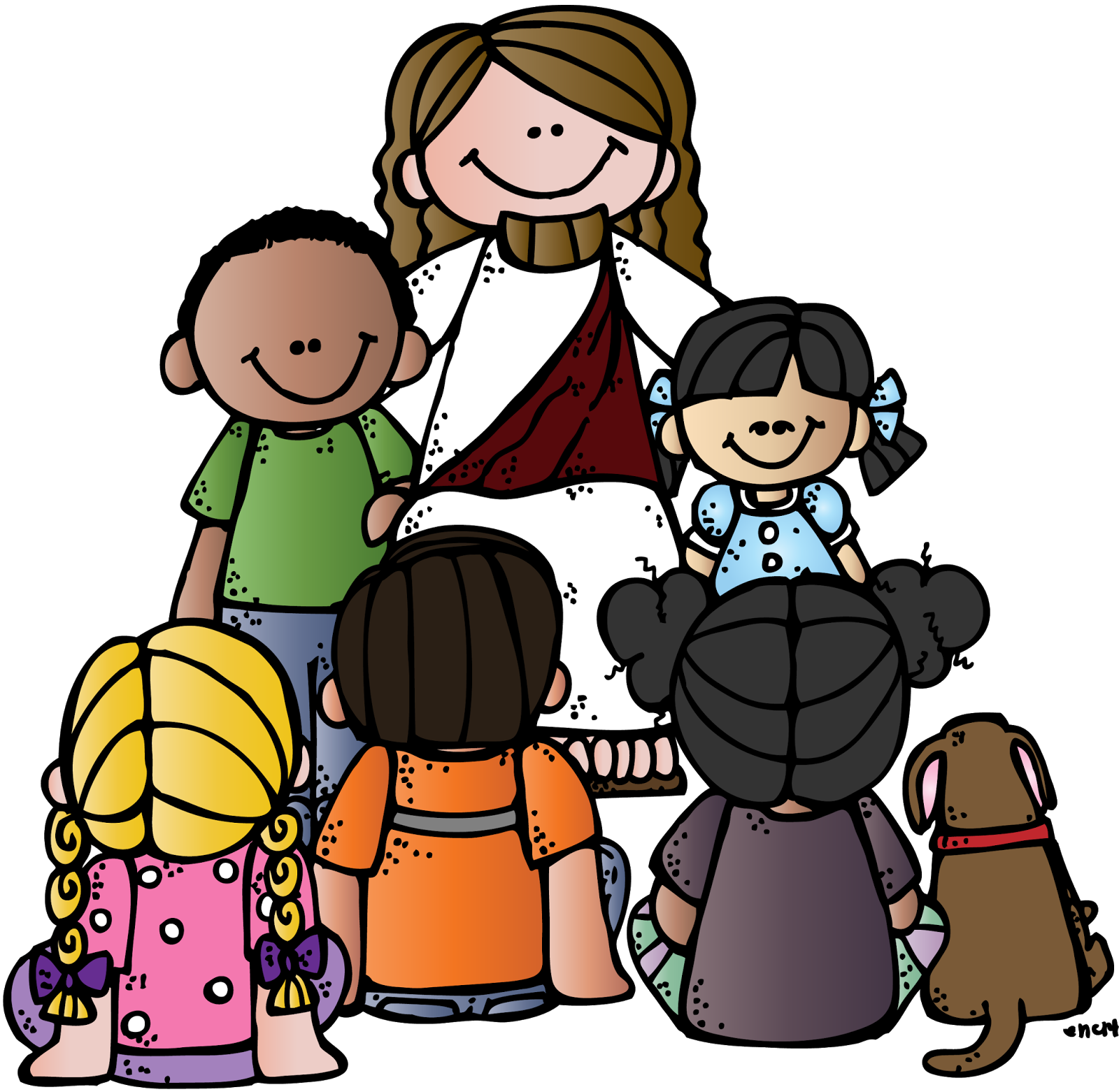 Christ with children clip art.