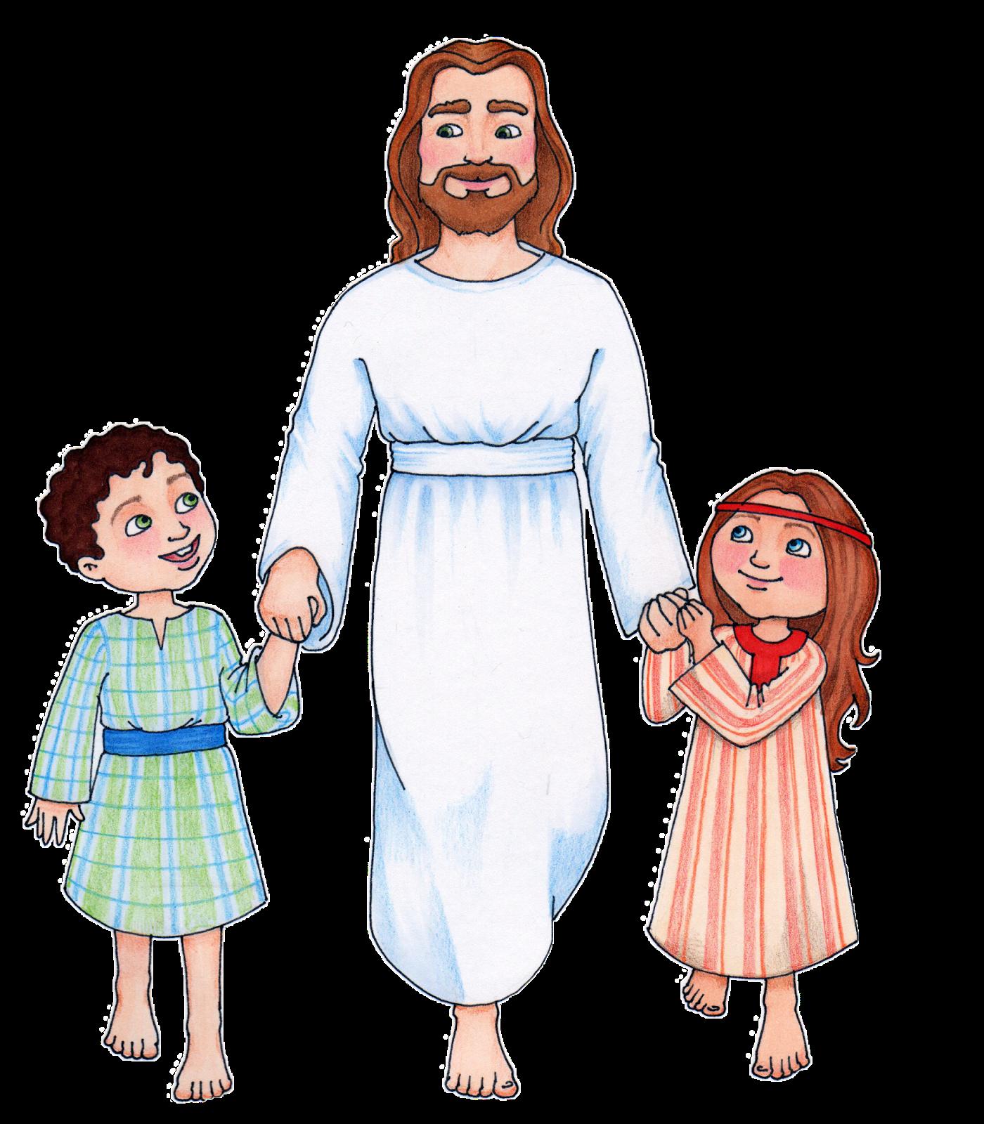 Christ with children clip art.
