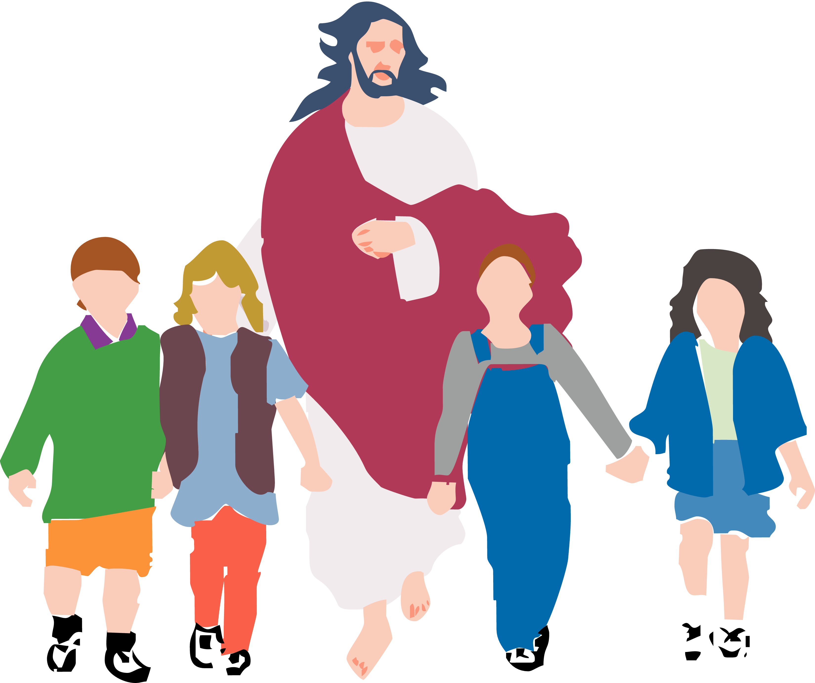 Black And White Free Christian Clip Art child walking wi...