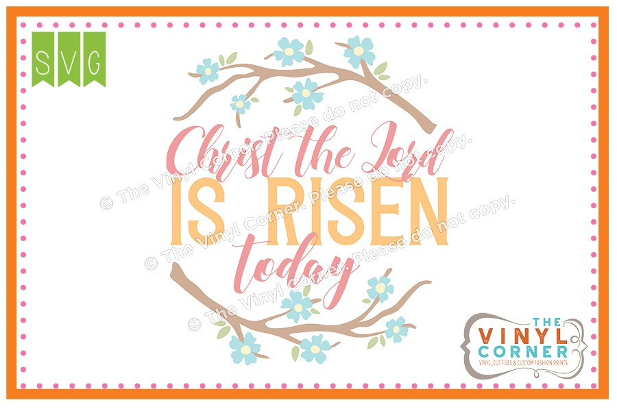 Applique Corner Christ is Risen SVG Clipart Design.