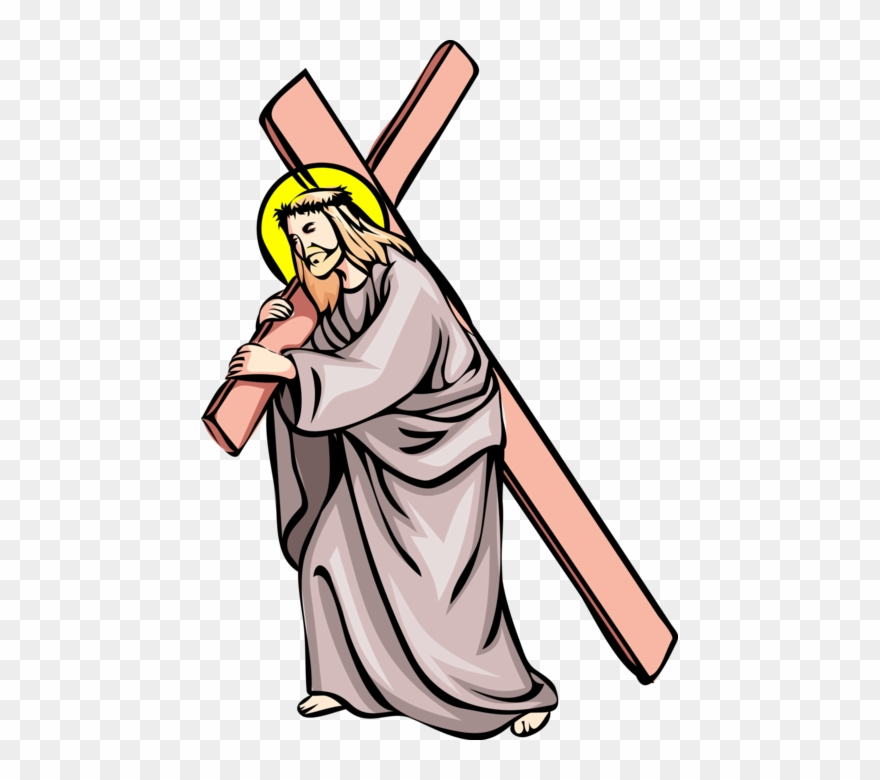 Vector Illustration Of Jesus Christ Carries Cross To Clipart.