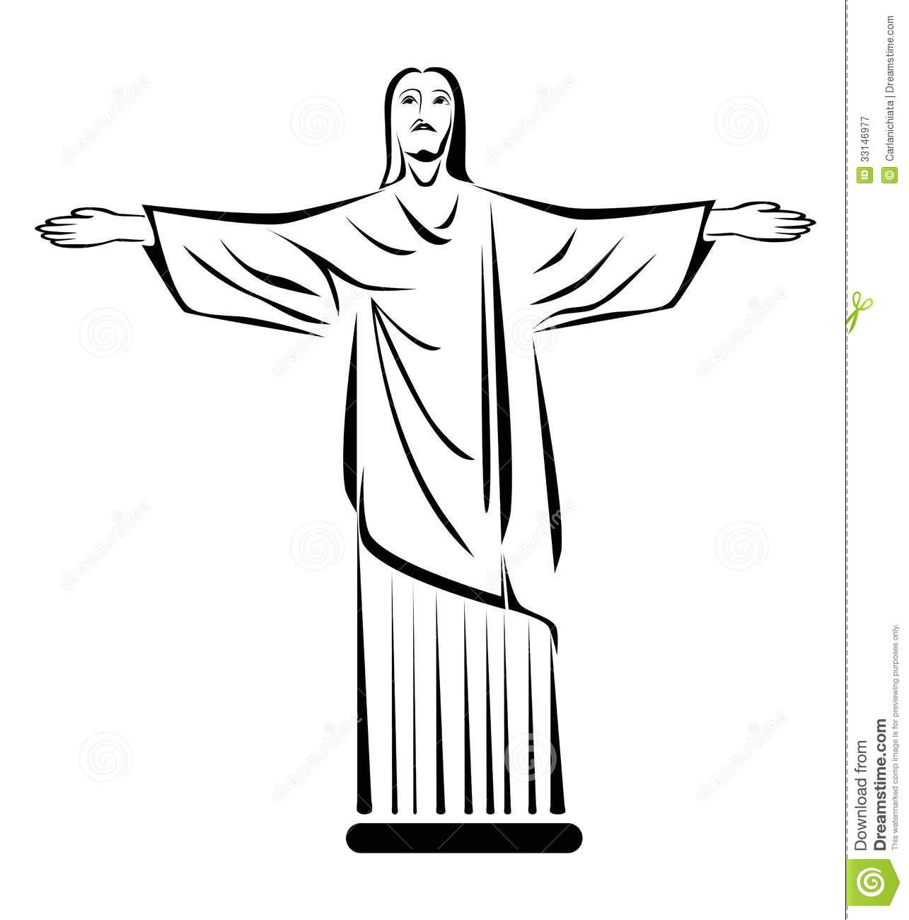 Jesus statue brazil clipart.