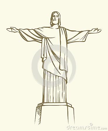 Air View Cristo Redentor Rio De Janeiro Brazil Stock Illustrations.