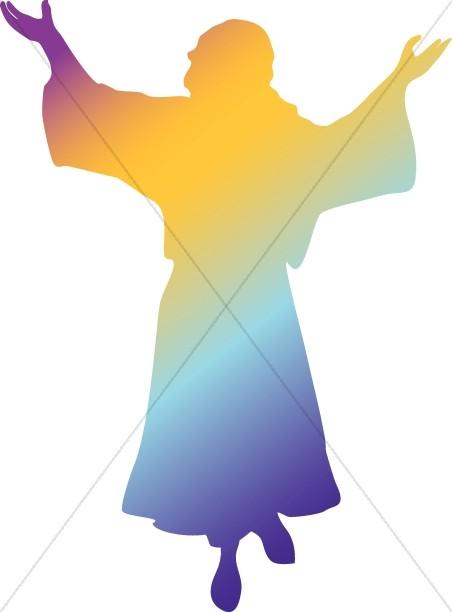 Rainbow Silhouette Jesus.