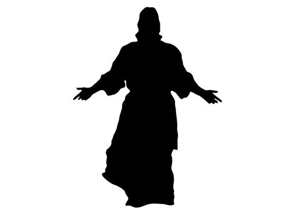 Jesus Decal. Jesus with Open Arms Sticker. Jesus Christ Silhouette.