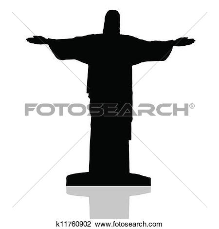 Clipart of Statue of Christ the Redeemer k9043691.