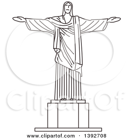 Clipart of a Gray Sketched Travel Landmark of Christ the Redeemer.