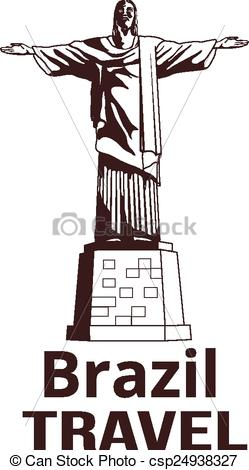 Vector Illustration of Christ the Redeemer statue in rio de.
