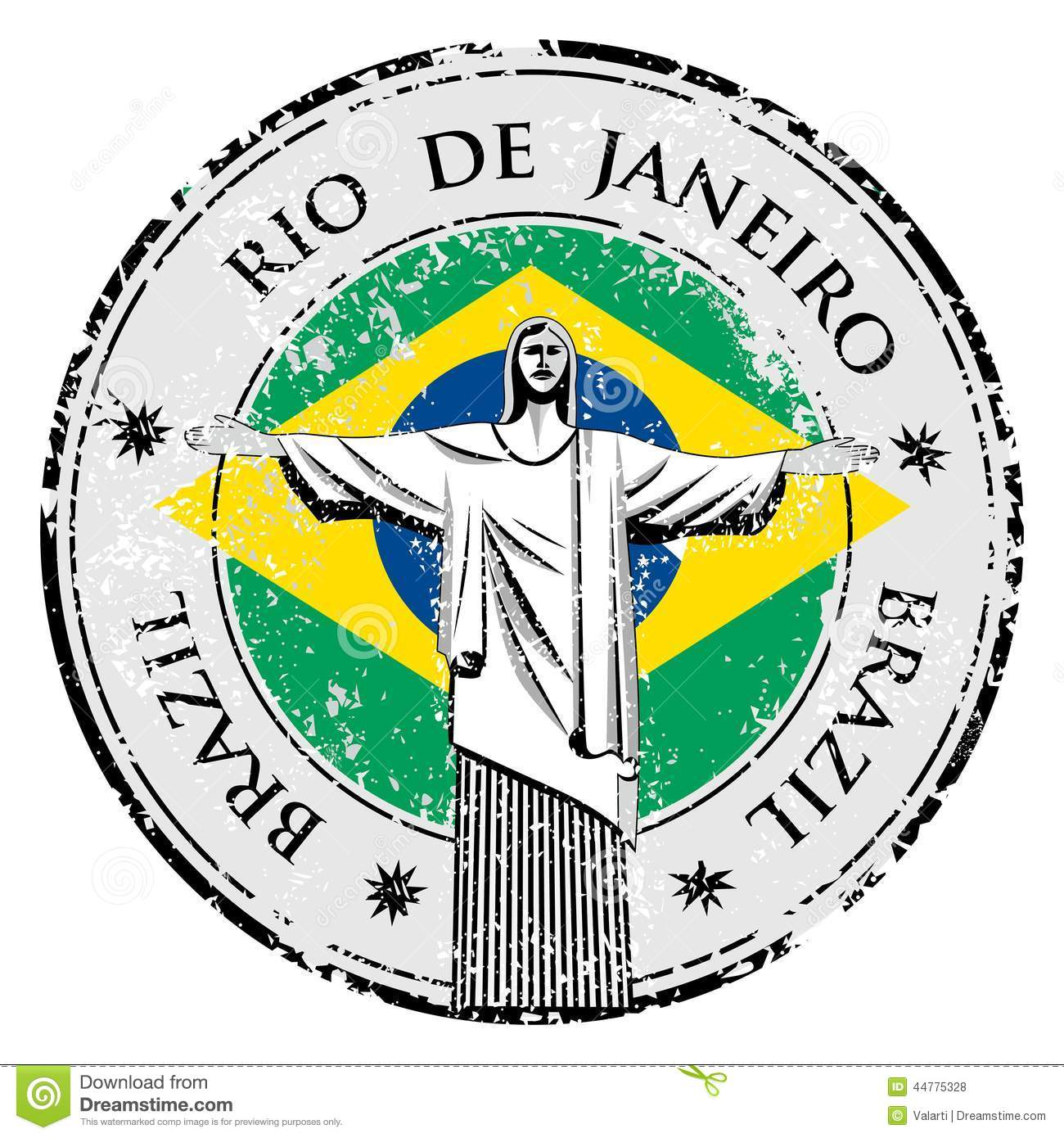 Rio Theme Stamp With Statue Of The Christ The Redeemer.