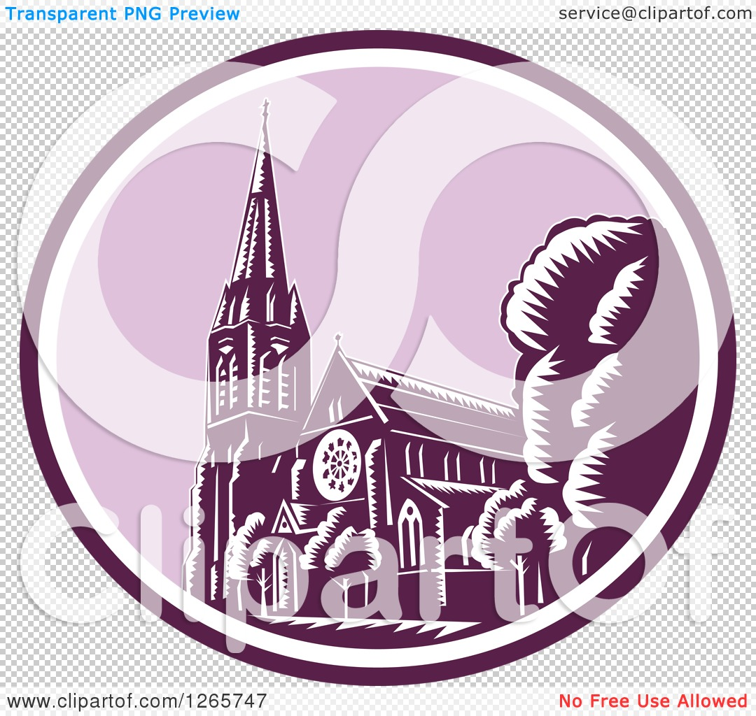 Clipart of a Retro Woodcut Scene of the Christchurch Cathedral.