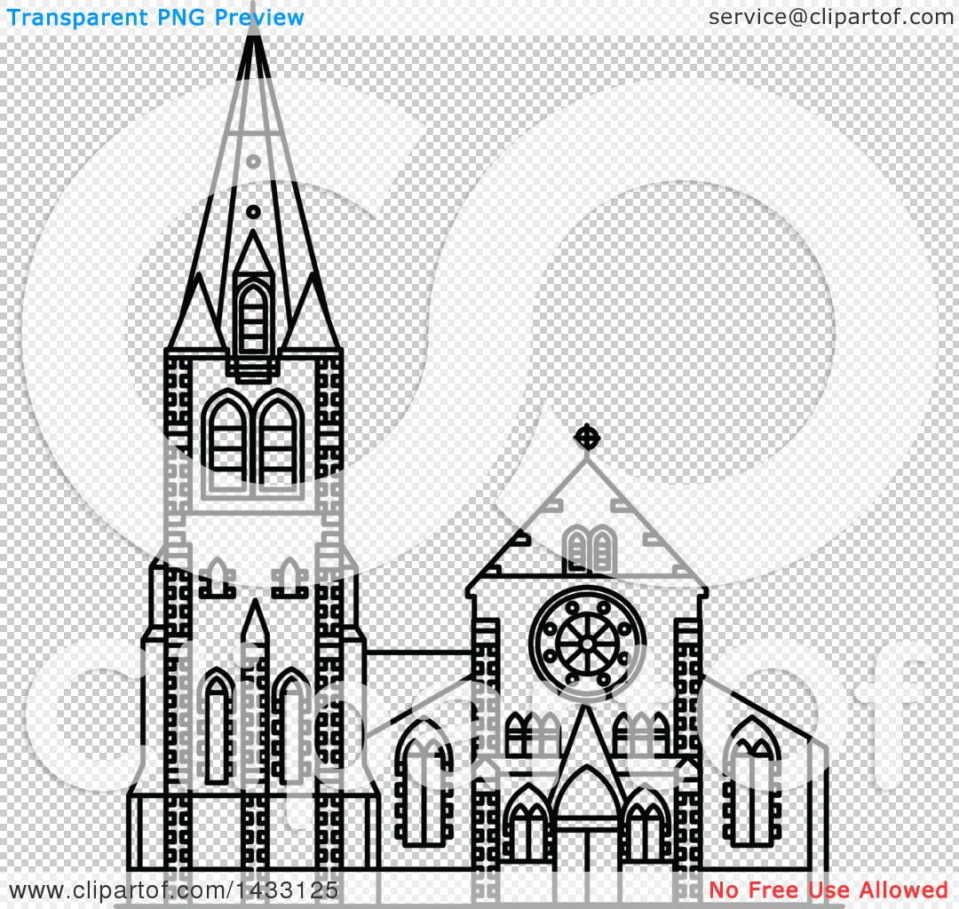 Clipart of a Black and White Line Drawing Styled New Zealand.