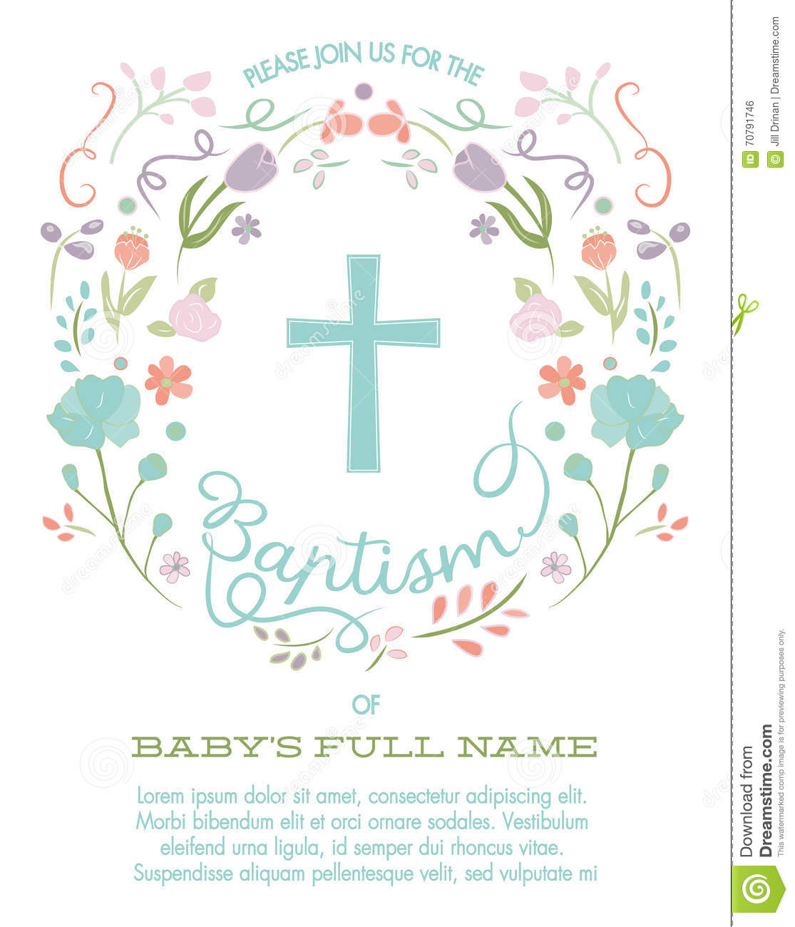 Baptism, Christening, First Holy Communion Invitation Template With.