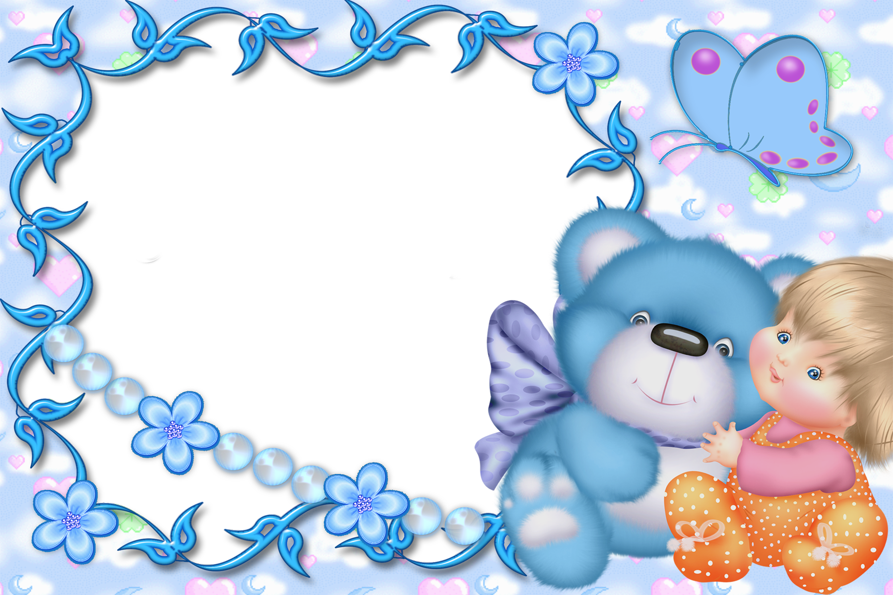 Cute Kids Blue Transparent Frame with Kid and Teddy Bear.