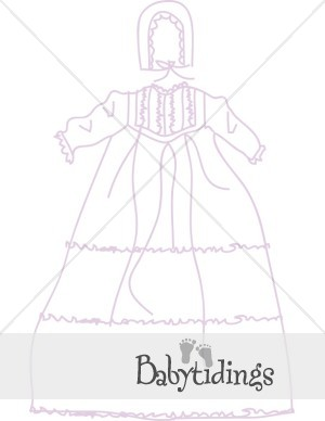 Lavender Christening Gown Clipart.