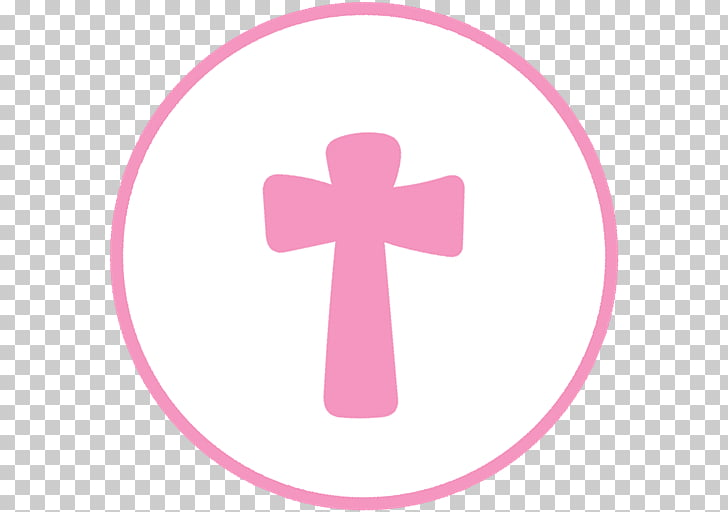 Drawing Decoupage , Christening invitation, pink cross.