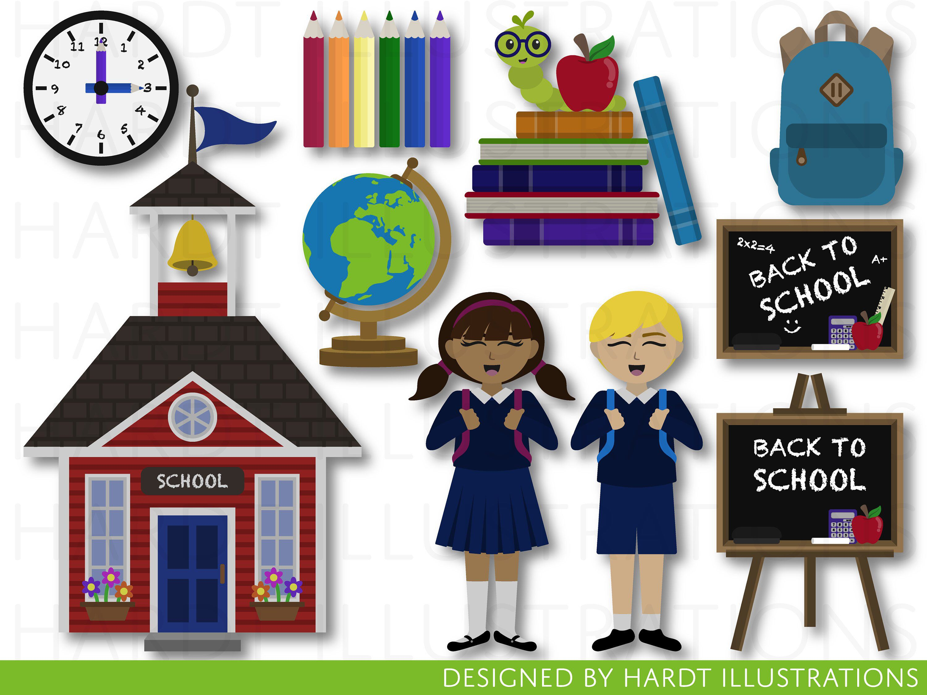 Back to School Clipart, School Supplies Clipart, School House.