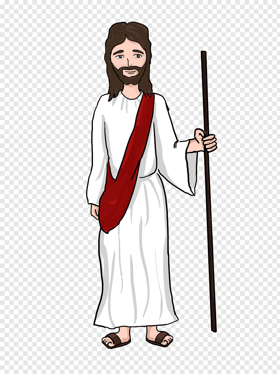 Man in white robe holding stick, Miracles of Jesus Cartoon.
