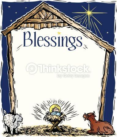 Border, Heading, Blessings, A manger frame.