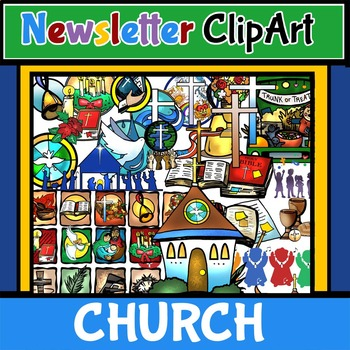 Newsletter Bulletin ClipArt! CHURCH and Christian Events! 70 pcs. BW/Color.
