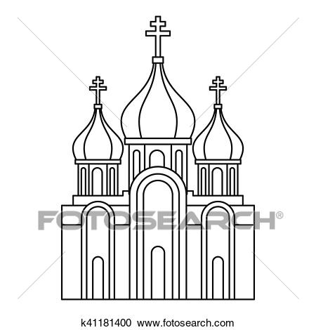 Christian church icon, outline style Clipart.