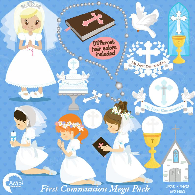 First communion clipart, Christian clipart, Bible, rosary, communion  banner, create invitations & crafts, commercial use, AMB.