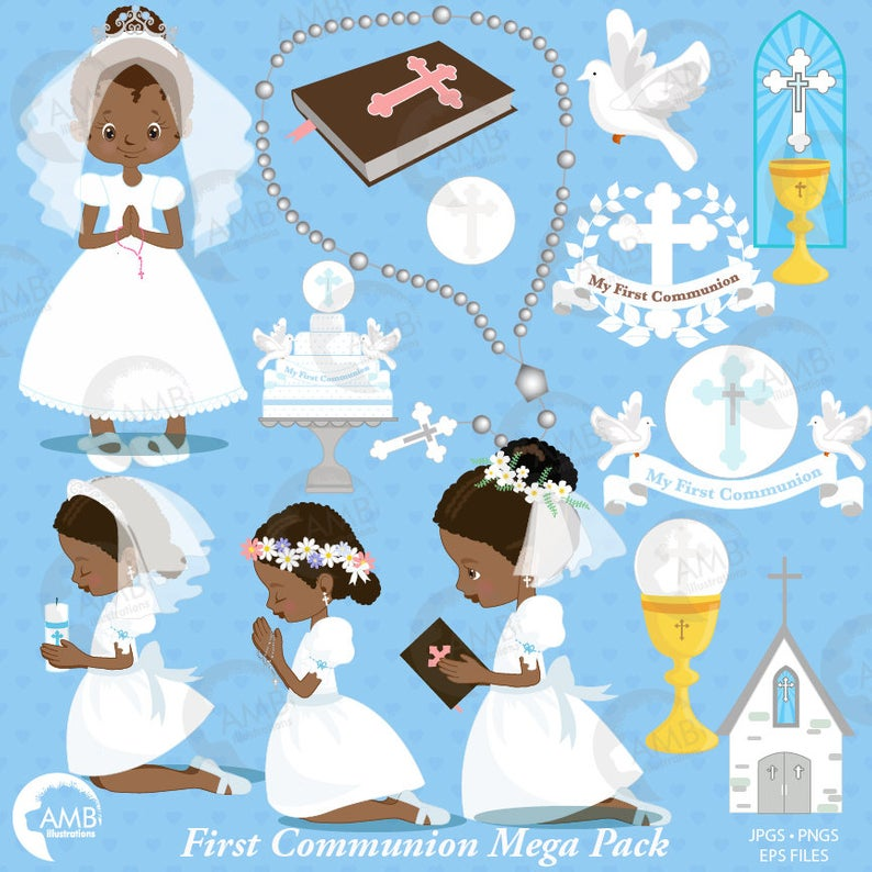 First communion clipart, Christian clipart, African American, Bible,  rosary, create invitations & crafts, commercial use, AMB.