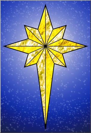 Clip Art: Religious: Christmas Star 4 Color 2 I abcteach.com.