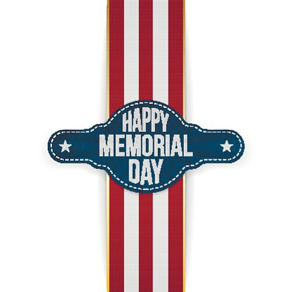 Happy Memorial Day festive Banner and Ribbon Clipart Image.
