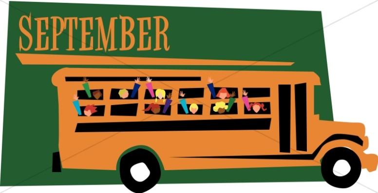Kids in a Schoolbus in September.