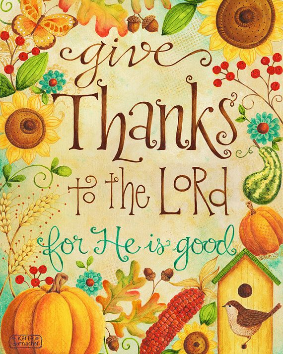Give Thanks to the Lord 8x10 Art Print Christian Bible Verse.