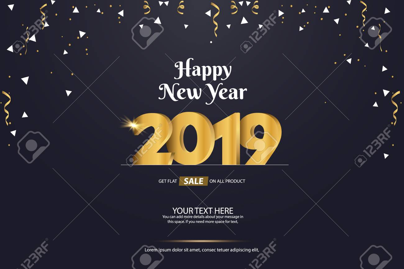 Happy New Year 2019 Sale Abstract Vector Background Template...