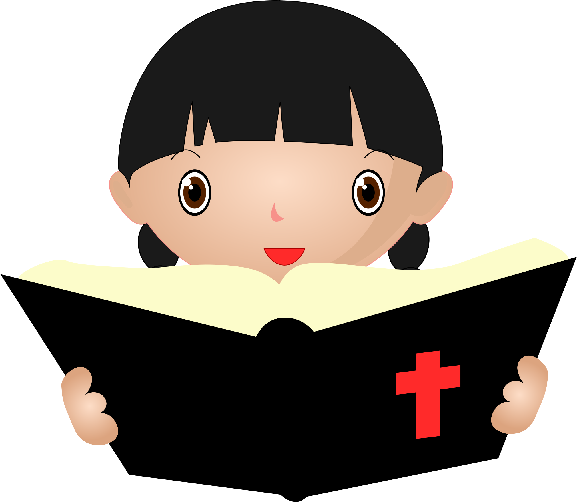 Girl Studying the Bible Vector Clipart image.