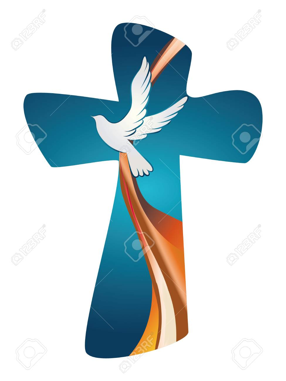 Holy Spirit symbol. Christian cross with dove on blue background.