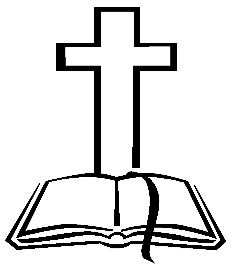 Christian cross and bible clip art.