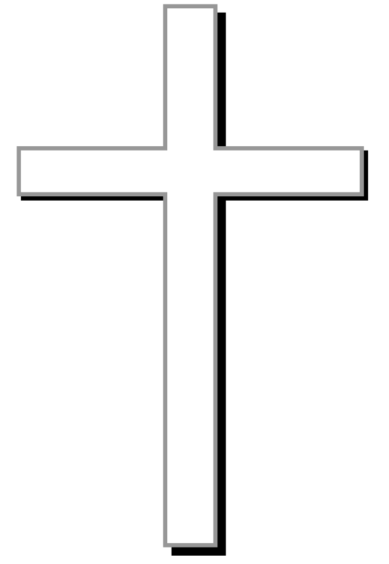 White cross w/ gray outline, black shadow, and light gray.