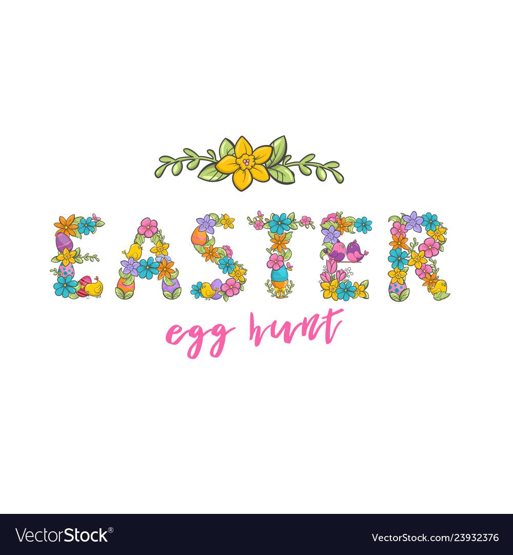 Easter egg hunt christian church festival card.