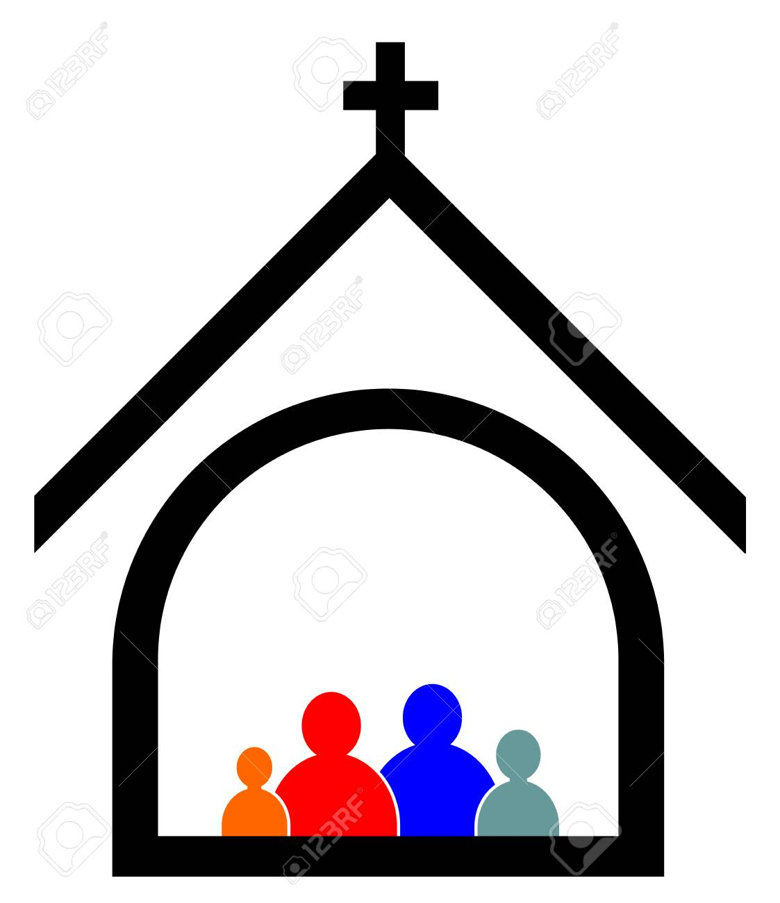 Church family concept vector eps 10.