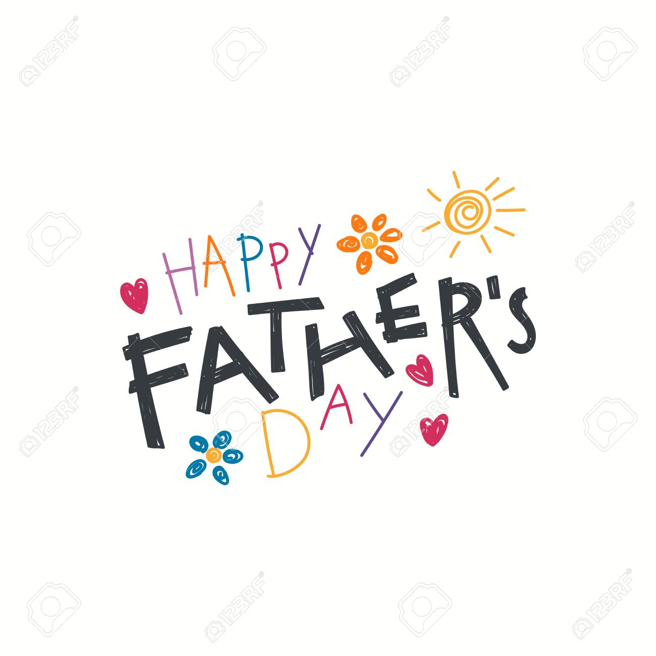 Hand written lettering quote Happy Fathers Day with childish...