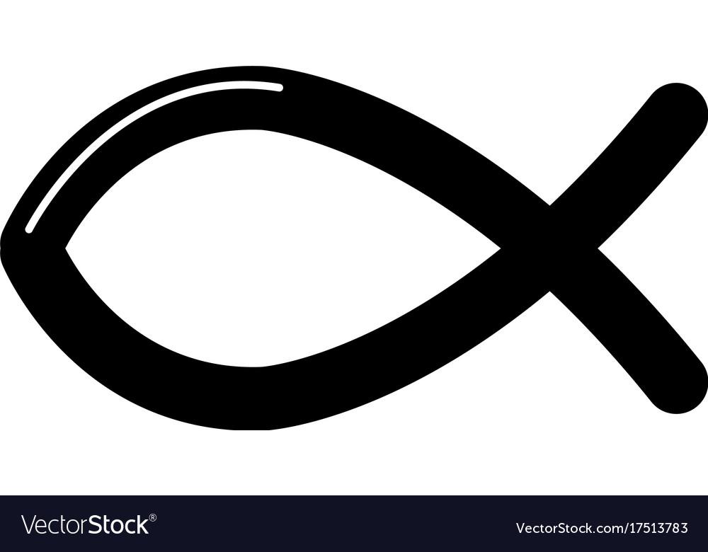 Christian fish symbol icon simple style.