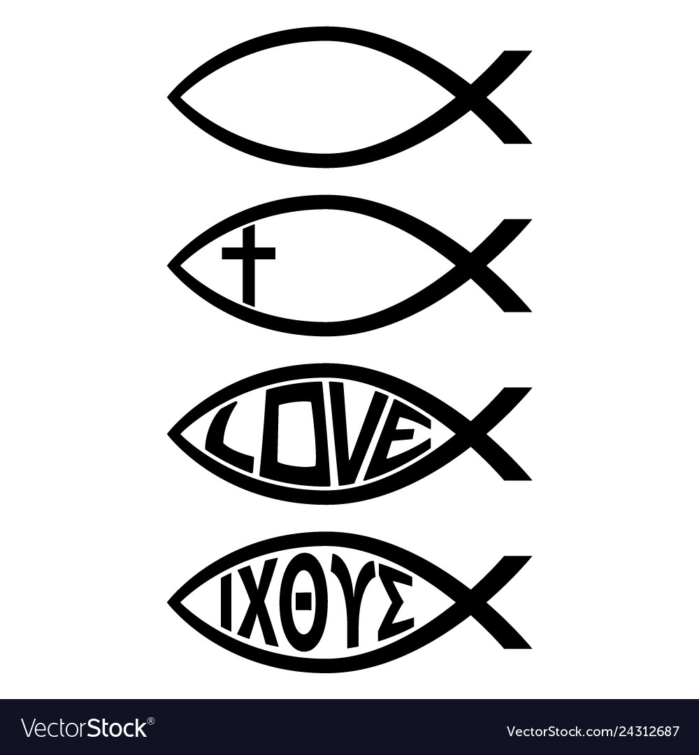 Ichthus christian fish symbol religious icon.