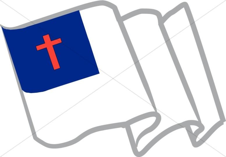 Waving Christian Flag.