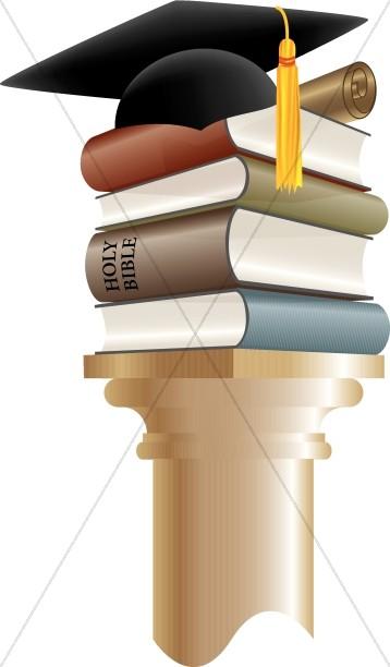 Books And Cap Graduation Clip Art.