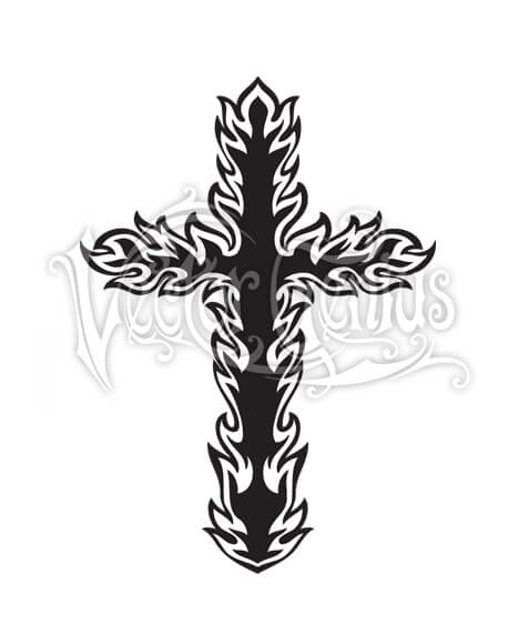 Flaming Cross Christian ClipArt.