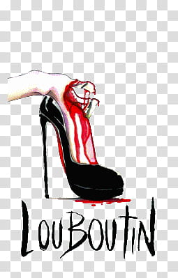 Christian Louboutin pair of black leather pumps transparent.