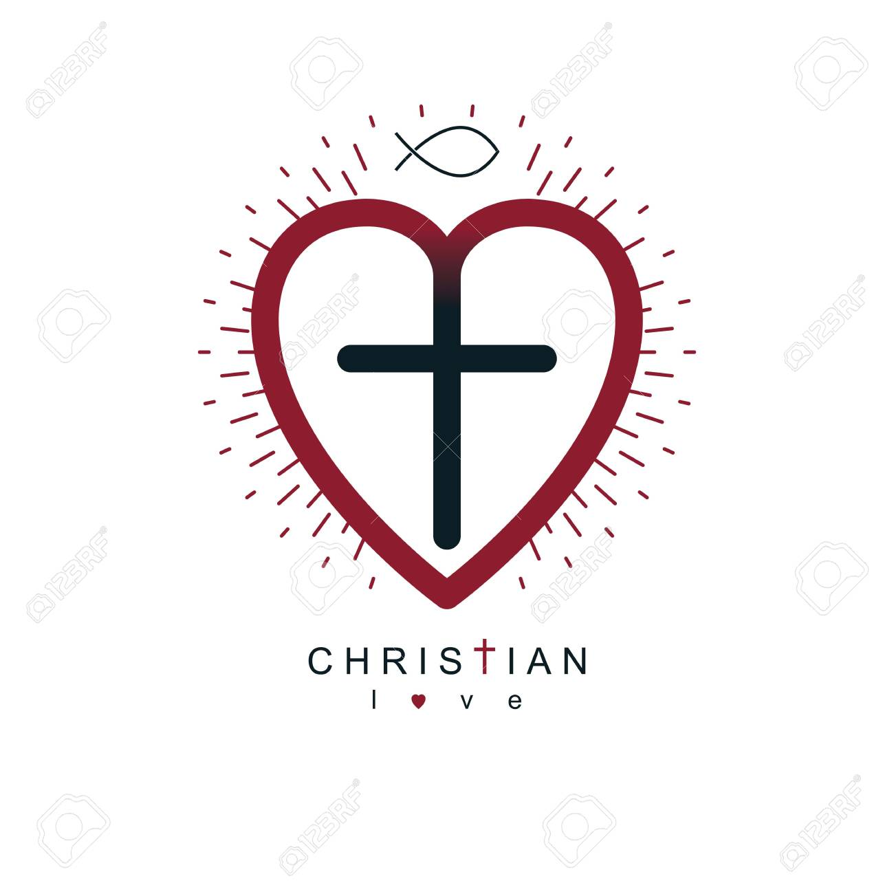 God Christian Love conceptual logo design combined with Christian...
